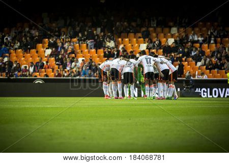 VALENCIA, SPAIN - APRIL 26: Valencia players during La Liga match between Valencia CF and Real Sociedad at Mestalla Stadium on April 26, 2017 in Valencia, Spain
