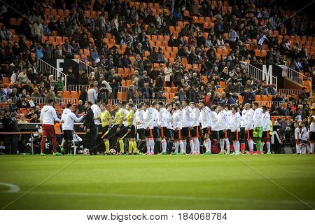 VALENCIA, SPAIN - APRIL 26: All players during La Liga match between Valencia CF and Real Sociedad at Mestalla Stadium on April 26, 2017 in Valencia, Spain