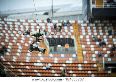 VALENCIA, SPAIN - APRIL 26: Spidercam during La Liga match between Valencia CF and Real Sociedad at Mestalla Stadium on April 26, 2017 in Valencia, Spain