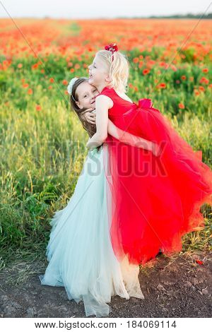 girl model, childhood, summer concept - funny games of two sisters a backgrounf of poppy field, little ladies in blue and red dress, one of them hugged the other blonde and raised her from the ground