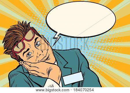 Dreaming businessman with glasses. Pop art retro vector illustration
