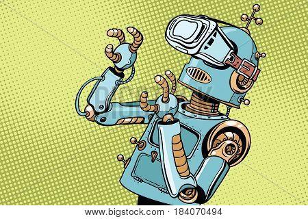 Scared retro robot in VR glasses. Pop art retro vector illustration