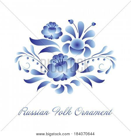 Blue and white floral element in russian gzhel style. Folk vector decoration with flowers and leaves for web and print design.