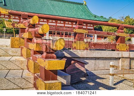 Details Of Shinto Temple Architecture At Heian Shrine In Kyoto, Japan