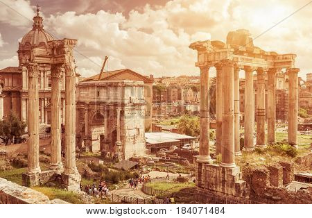 Ruins of the Roman Forum in Rome, Italy. The Roman Forum is the remains of architecture of the Roman Empire and is one of the main tourist attractions of Rome.