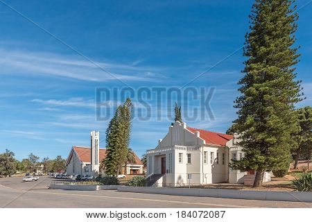 ASHTON SOUTH AFRICA - MARCH 26 2017: The Dutch Reformed Church and hall in Ashton a town on the scenic Route 62 in the Western Cape Province