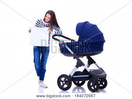 Full length portrait of a mother with a stroller holding blank, isolated on white background