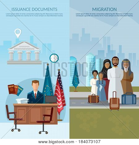 Issuance of documents for immigrant issue of visas passports documents migrants in USA and Europe vector banner