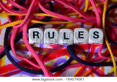 word rules on a  abstract colorful background