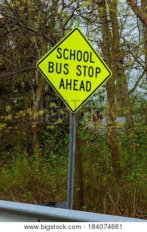 School bus stop warning road sign USA rural outback