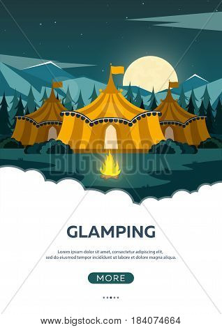 Glamping. Glamor Camping. Campfire. Pine Forest And Rocky Mountains. Evening Camp.