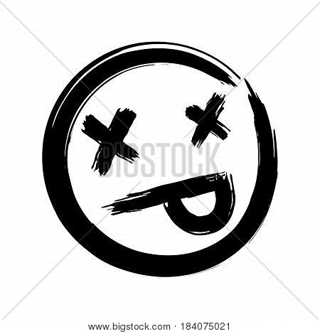 Hand drawn dead emoji, ink brush dead emoticon smiley icon on a white background. Vector.