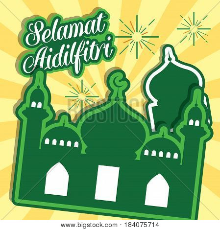Hari Raya Aidilfitri vector illustration with traditional malay mosque. Caption: Fasting Day of Celebration