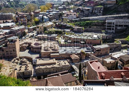 Old traditional sulfur baths in Tbilisi top view n a district with baths. April 17 2015