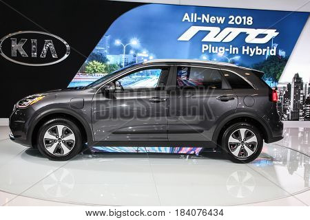 NEW YORK- APRIL 12: Kia Niro shown at the New York International Auto Show 2017, at the Jacob Javits Center. This was Press Preview Day One of NYIAS, on April 12, 2017 in New York City
