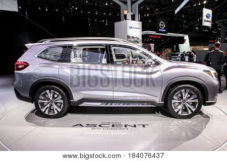 NEW YORK- APRIL 12: Subaru Ascent concept shown at the New York International Auto Show 2017, at the Jacob Javits Center. This was Press Preview Day One of NYIAS, on April 12, 2017 in New York City