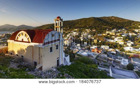 View of Agia Marina village on Leros island in Greece early in the morning.