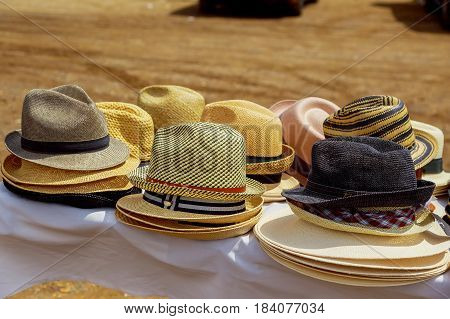 Hats Display For Sale In A Street Market.