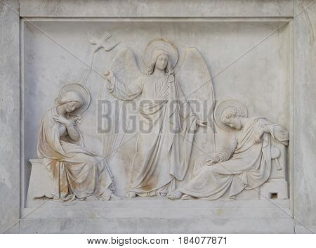 ROME, ITALY - SEPTEMBER 02: Joseph's dream on the Column of the Immaculate Conception on Piazza Mignanelli in Rome, Italy on September 02, 2016.