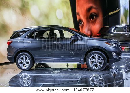 NEW YORK- APRIL 12: Chevrolet  Equinox at the New York International Auto Show 2017, at the Jacob Javits Center. This was Press Preview Day One of NYIAS, on April 12, 2017 in New York City