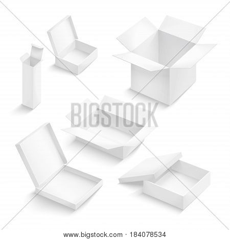 White box collection isolated on white background. Container for product. Vector illustration.