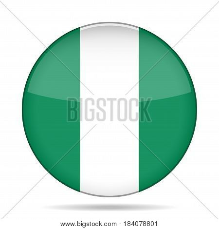National flag of Nigeria. Shiny round button with shadow.