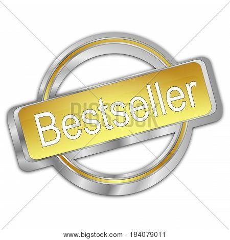 decorative silver golden Bestseller button - 3D illustration