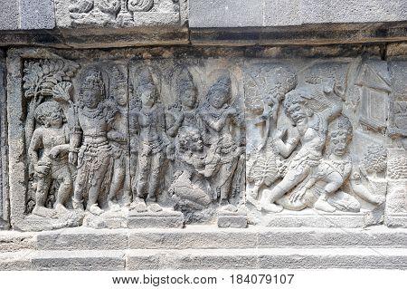 Artwork Of Prambanan Temple Compound In Java On Indonesia