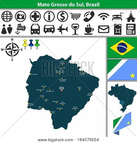 Map Of Mato Grosso Do Sul, Brazil