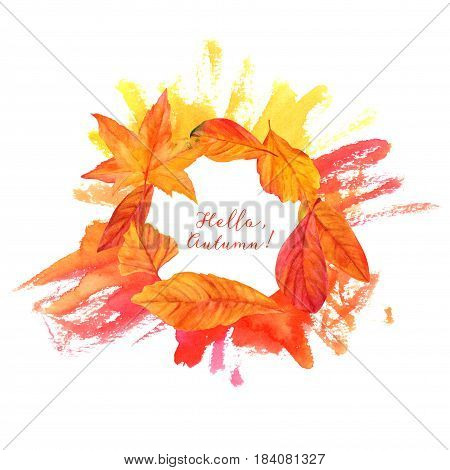 Hello, Autumn design with vibrant fall leaves, yellow and orange, on a hand painted watercolor texture. An artistic template for a card, flier, or invitation