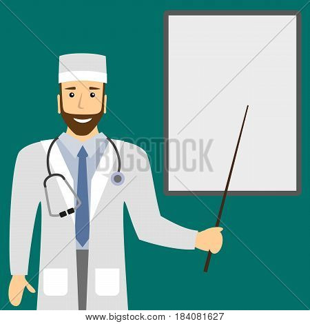 Medical doctor shows a presentation on a flip chart. Medical lecture. Vector illustration.
