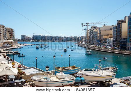 St Julians bay with sailing boats Malta EU