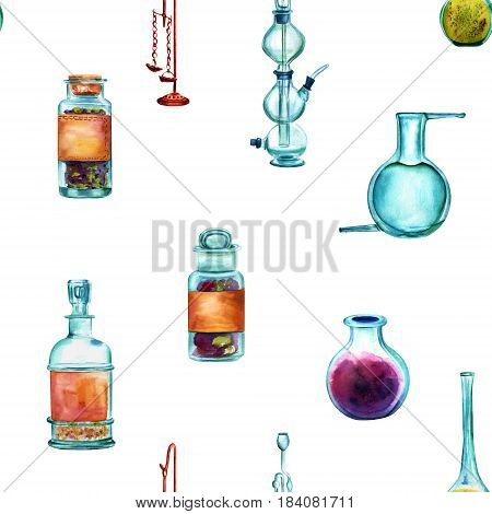 Vintage Science seamless background pattern with chemistry objects. Jars, bottles, containers, apparatuses, hand painted in watercolours on white background, forming a repeat print