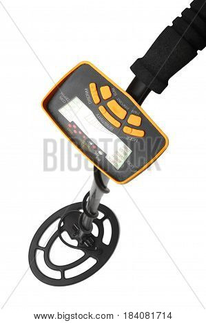 The metal detector closeup on a white background. It is isolated the worker of paths is present