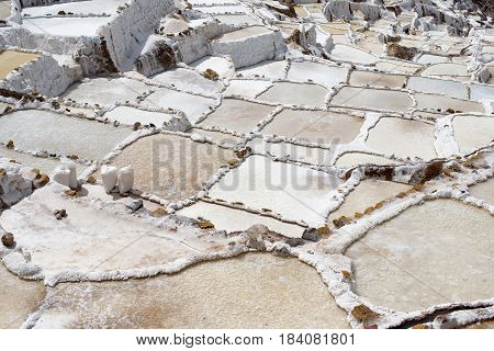 Salt flats at Salinas in the village of Maras near Ollantaytambo, Peru