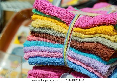 Rows Of Colorful Hand Towel.