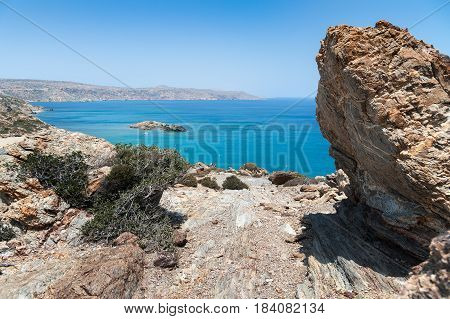 Lagoon with clear blue water at Crete island near Sitia town, Greece.
