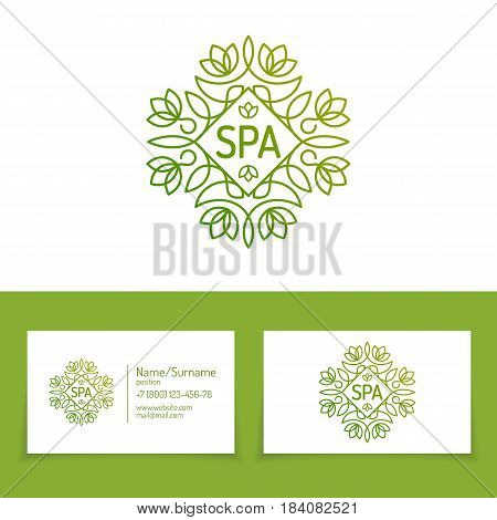 Spa logo set wth business card and monogram logo vintage line style modern gradient green color for use spa service, flower firm, hotel company, business emblem etc. Vector Illustration