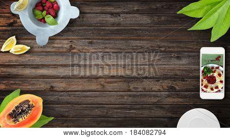 Fresh Fruit Wood Background