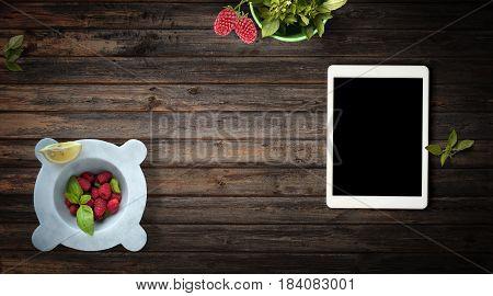 Fresh Raspberries And Basil