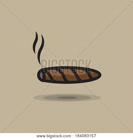 Vector icon smoking cigar. Illustration of smoking cuban cigar