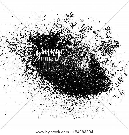 Ink Dust Texture For Your Design. Grunge Powder Pattern. Vector Handmade Background. Backdrop With S