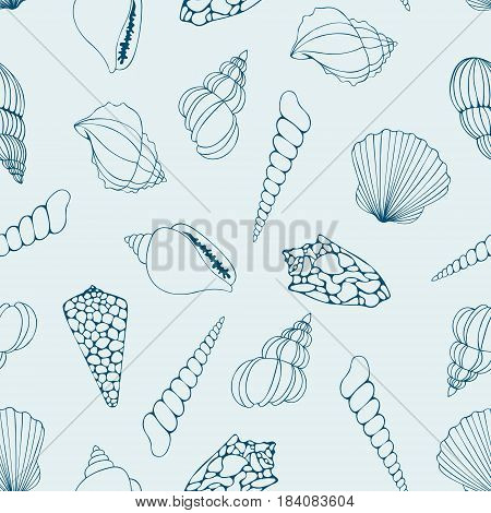 Seashells. Contour drawing. Vector seamless pattern for design and decoration of textile wrapping paper wallpaper cover and web design