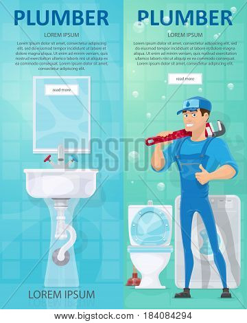 Plumbing vertical banners with plumber holding professional wrench toilet washing machine sink crane and mirror vector illustration
