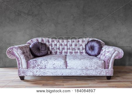 Living room furniture decor, interior design, front view