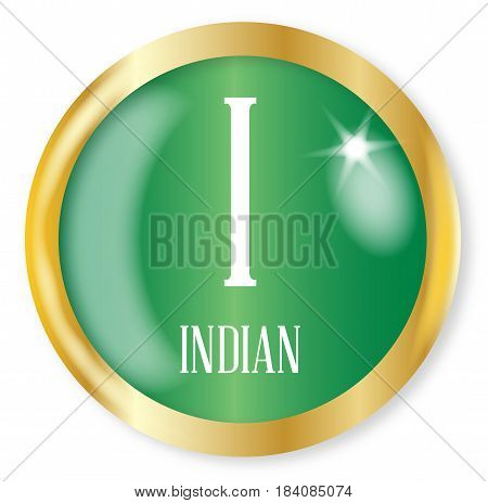 I for Indian button from the NATO phonetic alphabet with a gold metal circular border over a white background