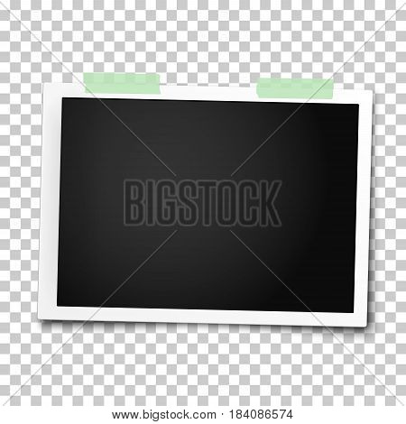 Realistic vector photo frame with straight edges placed on wall by two pieces of green adhesive tape. Template photo design.