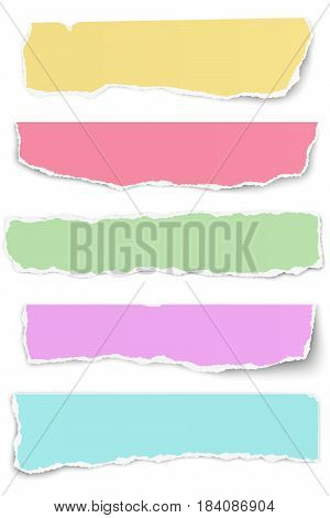 Set of elongated tattered different colors paper scraps isolated on white background