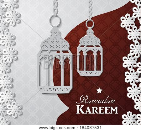 Arabic illustration of Ramadan Kareem on white and red paper with Silhouette of paper lights