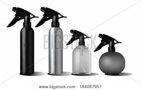 Realistic black bottle. Realistic spray pistol cleaner, plastic bottle, trigger spray. Soap pump. Mock up set. Cosmetic vial, flask, dropper-bottle, shampoo, oil gel Label sticker